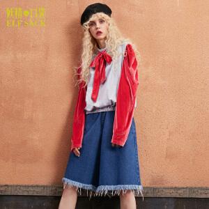 【2件3折】妖精的口袋神奇法师秋装新款宽松高领宫廷风系带领结T恤女