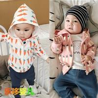 婴儿卫衣春秋新生儿拉链衫连帽刚出生小宝宝上衣纯棉长袖新款外套