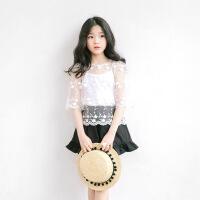 女童上衣夏季新款2017韩版中大儿童短袖蕾丝镂空t恤小女孩娃娃衫