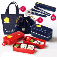 【支持礼品卡】双层饭盒便当盒日式分格月兔午餐盒学生微波炉饭盒 r2n