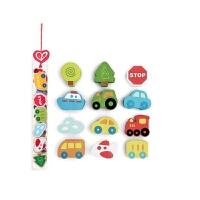 德国Hape宝宝早教玩具交通工具模型 儿童益智玩具1-2岁 多彩积木