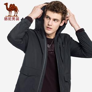 骆驼男装 2018秋冬新款青年时尚纯色连帽多口袋运动休闲风衣外套
