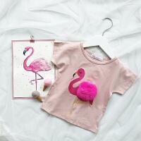 2018夏装新款女宝宝T恤女童打底衫短袖婴儿半袖上衣1-2-3岁 粉色