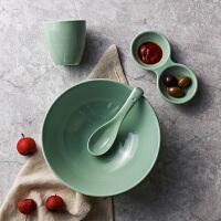 奇居良品 厨房餐具 艾洛可陶瓷面碗勺子酱料碟水杯4件套装