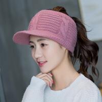 帽子女士秋冬季韩版可爱空顶加绒毛线帽时尚潮针织帽子棒球帽可爱 M(56-58cm)