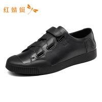 红蜻蜓男鞋春秋新款透气时尚皮面撞色潮流舒适休闲鞋男