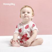 婴儿爬服宝宝纱布连体衣初生儿短袖哈衣夏季薄