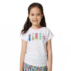 探路者TOREAD品牌童装 户外运动 夏装女童雨林动物系列圆领短袖T恤