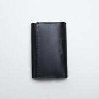 男式小钱包 牛皮钥匙包 简洁小零钱包二合一钥匙扣 黑色