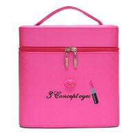 大容量化妆包可爱双层手提化妆箱大号护肤化妆品多层收纳盒小方包shq 玫红色