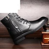 潮牌冬季靴子马丁靴男侧拉链短靴中筒工装靴头层牛皮高帮棉靴军靴