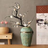 新中式梅花复古仿真花 仿真梅花桃花树腊梅假花绢花电视柜客厅中式禅意陶瓷花瓶摆放花艺