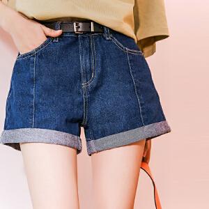 七格格牛仔短裤热裤女夏季高腰2018新款春装韩版宽松裤子阔腿