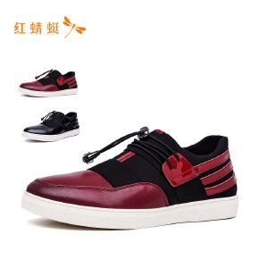 红蜻蜓男鞋2018新款牛皮平底系带休闲男鞋