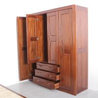 新中式实木衣柜卧室柜子进口榆木全实木四门衣柜衣橱家具