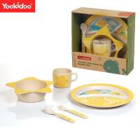 儿童餐具 卡通动物竹纤维碗筷勺套装 婴幼儿喂养餐具组合 星星款