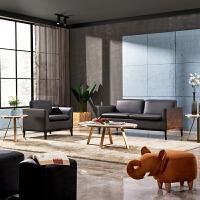 办公沙发真皮会客区接待区商务洽谈三人位北欧沙发茶几组合