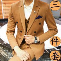 档西服套装男士西装三件套修身双排扣伴郎新郎结婚礼服商务正装