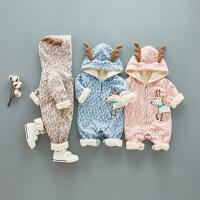 春秋冬婴儿加绒加厚连体衣男孩女宝宝春装新生儿衣服保暖外出抱衣