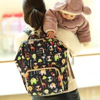 妈咪包双肩包婴儿背包外出包妈妈包时尚潮大容量母婴包限定辣妈款 藏蓝色底动物园 预售03.20号发货