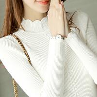 安妮纯套头毛衣女秋冬新款内搭长袖针织衫春季女装新品短款半高领修身打底衫潮