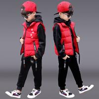 儿童运动洋气男孩帅气衣服三件套潮童装男童冬装套装