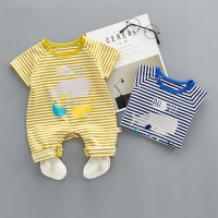 婴儿衣服夏季男宝宝0-1岁初生儿爬服薄款连体衣条纹哈衣