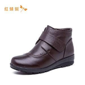 红蜻蜓经典圆头时尚舒适低跟魔术贴女单鞋