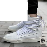 男士高帮板鞋高帮潮流运动白色休闲鞋子白板鞋男鞋子运动短靴学生鞋