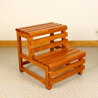 阶梯凳橡木双层脚踏木桶凳沐浴凳浴室坐凳实木台阶登高梯矮凳子 图片色