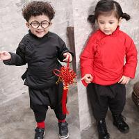 儿童男童女童宝宝唐装中国风棉袄新年装加厚套装过年衣服B893 AA