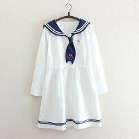 宽松娃娃裙中长款日系夏季海军风连衣裙短袖韩版水手服少女学生