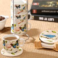 Evergreen爱屋格林欧式咖啡杯陶瓷杯加同款杯垫4个套装送收纳架