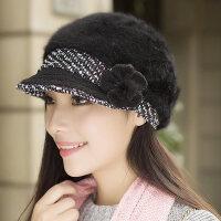 韩版潮鸭舌帽贝雷帽保暖针织毛线帽时尚兔毛帽子女