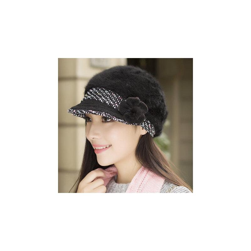 韩版潮鸭舌帽贝雷帽保暖针织毛线帽时尚兔毛帽子女 品质保证 售后无忧