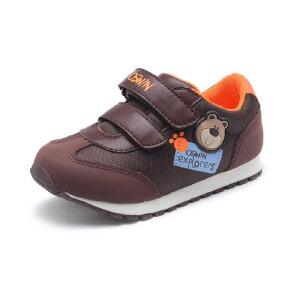 Shoebox鞋柜男童鞋秋冬新款儿童波鞋旅游鞋 潮卡通小熊休闲鞋
