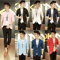 秋装七分袖小西装男士西服韩版修身潮流外套青年商务正装中袖男装