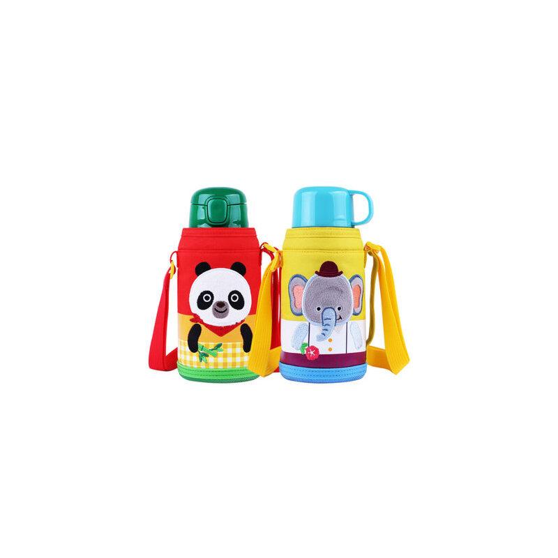 乐扣乐扣儿童带吸管两用保温杯婴儿带盖水杯幼儿园宝宝水壶550ml 2种盖子 吸管盖+按键盖 可随意更换