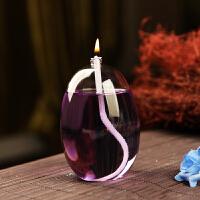 家居摆件结婚礼物送灯油礼物创意无烟玻璃油灯蜡烛台款