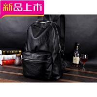 韩版真皮双肩包包男士商务出差牛皮包软皮质休闲旅行李小型后背包 黑色