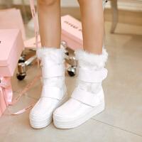 彼艾品秋冬雪地靴厚底防水PU女靴韩版潮中筒平跟防滑保暖鞋子女