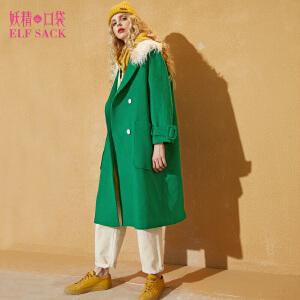 【尾品汇直降】妖精的口袋抹茶加糖秋装新款毛领宽松双排扣毛呢大衣外套女
