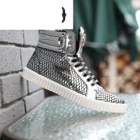 男鞋高帮流行个性男夜店潮人韩版牛皮短靴子内增高运动