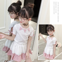 女童夏季套装儿童短袖圆领衬衫上衣拼色短裙半身裙蓬蓬裙两件套