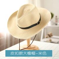 女士礼帽可折叠女士礼帽草帽子 情侣帽沙滩帽男士牛仔渔夫帽 户外遮阳大檐帽