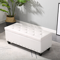 欧式床尾沙发凳长条凳可坐试鞋凳鞋柜定制衣橱衣帽间实木收纳凳子 150长40宽40高 储物 皮革
