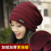 帽子女冬天时尚百搭韩版潮中年女士洋气秋冬季女式妈妈包头毛线帽