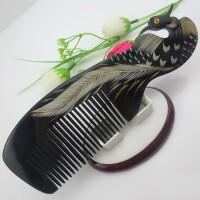 凤凰图案黑牛角梳按摩头梳家用大号直长发便携梳子按摩头梳