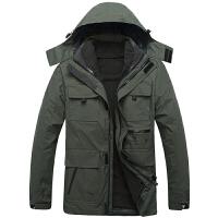 冬季户外冲锋衣男三合一两件套装加绒加厚保暖外套登山服潮 冲锋衣男三合一两件套 Q