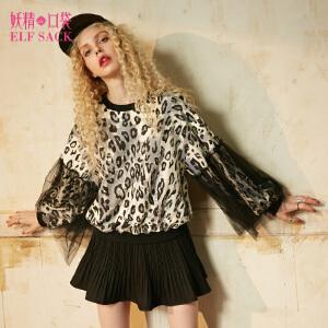 【低至1折起】妖精的口袋芝加哥姑娘秋装新款圆领宽松豹纹蕾丝拼接卫衣女